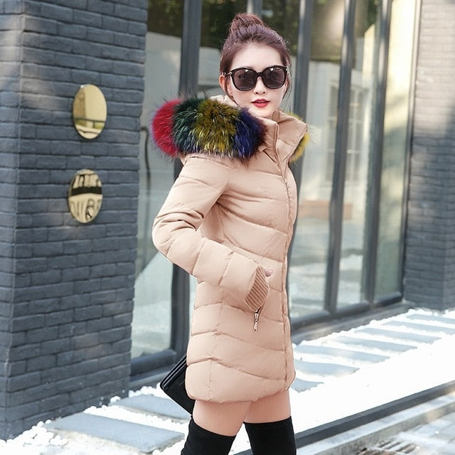 winter jacket women female coat Hooded Slim Outwear woman long parka fox fur Cotton