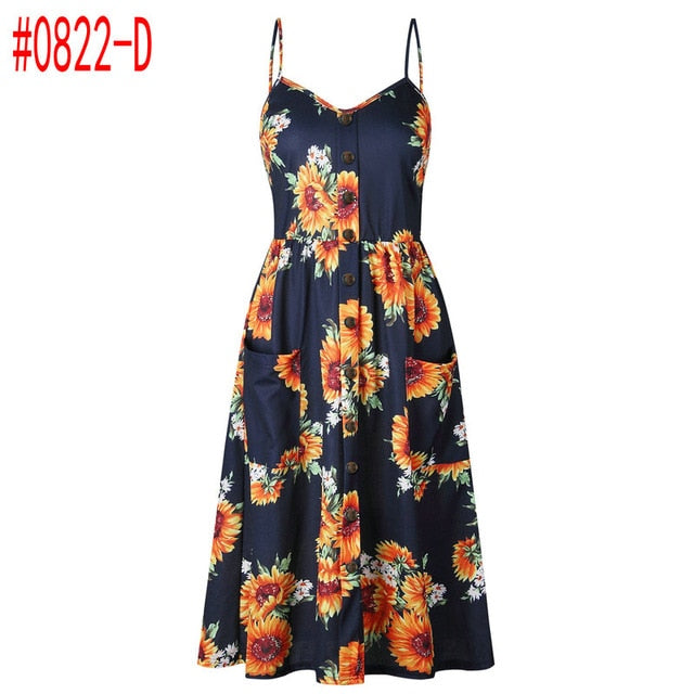 Summer Women Dress  Vintage Sexy Bohemian Floral Tunic Beach Dress Sundress