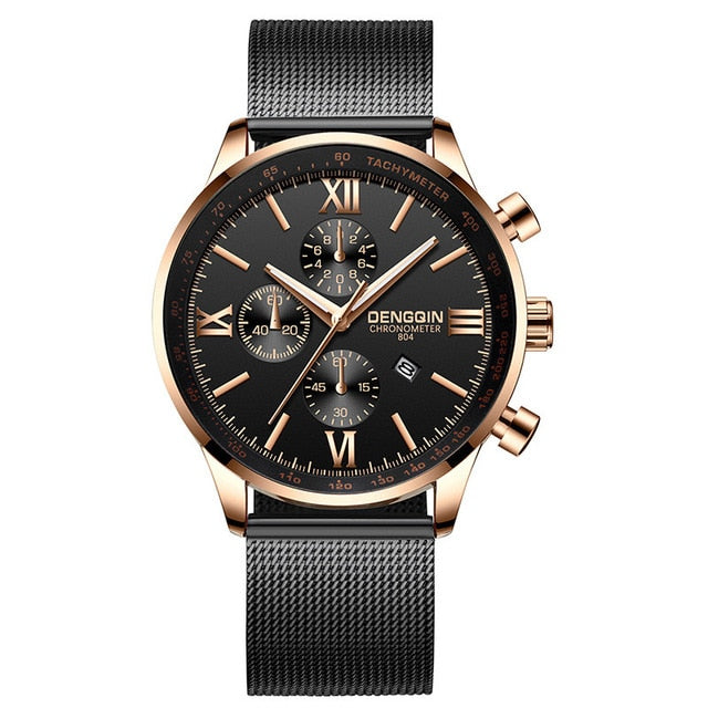 Fashion Men'S Watch Business Mens Watches Top Brand Steel Reloj Gold Erkek Kol Saati