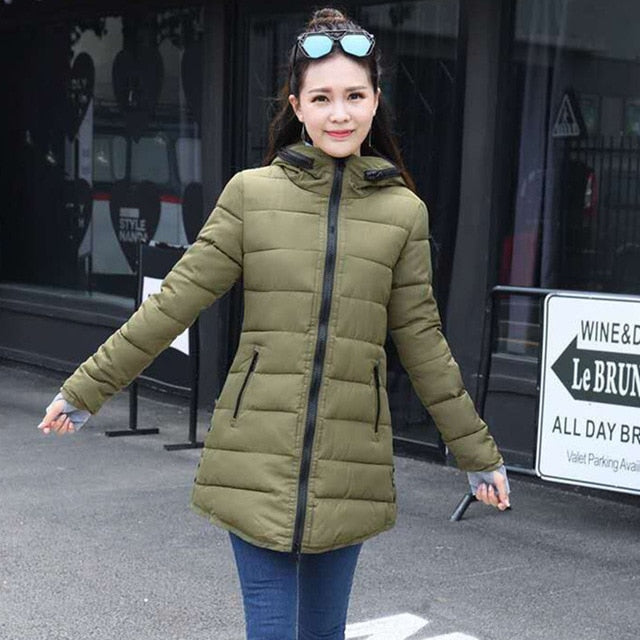 Warm Winter Jackets Women Fashion cotton padded Parkas Casual Hooded Long Coat