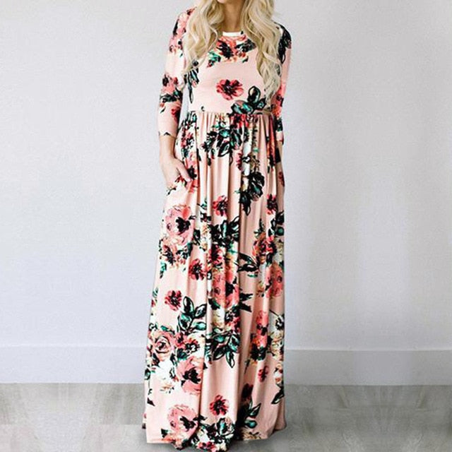 2019 Summer Long Dress Floral Print Boho Beach Dress Tunic Maxi Dress Women Evening Party Dress