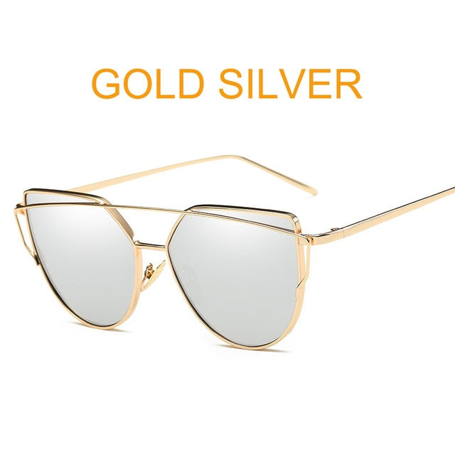 Cat Eye Vintage Brand Designer Rose Gold Mirror Sunglasses For Women  lens Sun Glasses