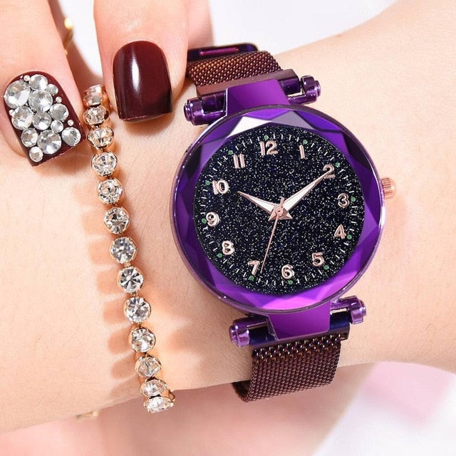 Women Watches Starry Sky Magnetic Female Wristwatch Waterproof Clock