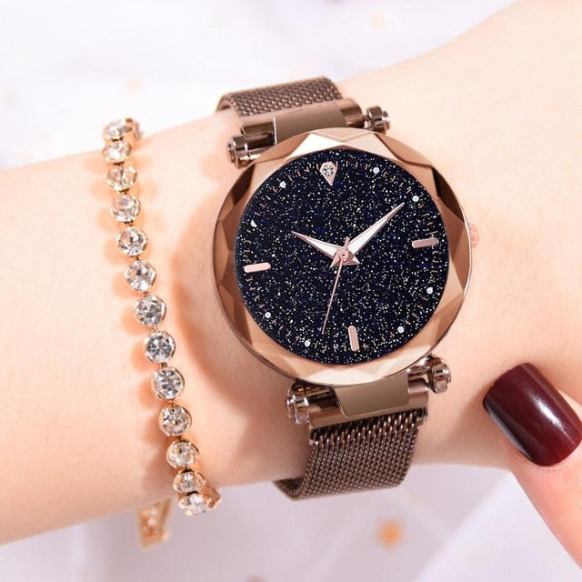 Ladies Watch Starry Sky Magnetic Waterproof Female Wristwatch Luminous