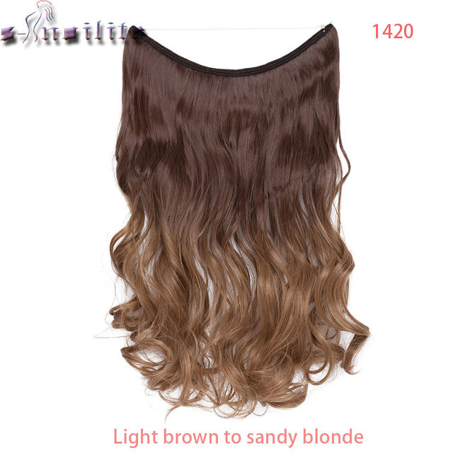 S-noilite 20 inches Invisible Wire No Clips in Hair Extensions Secret