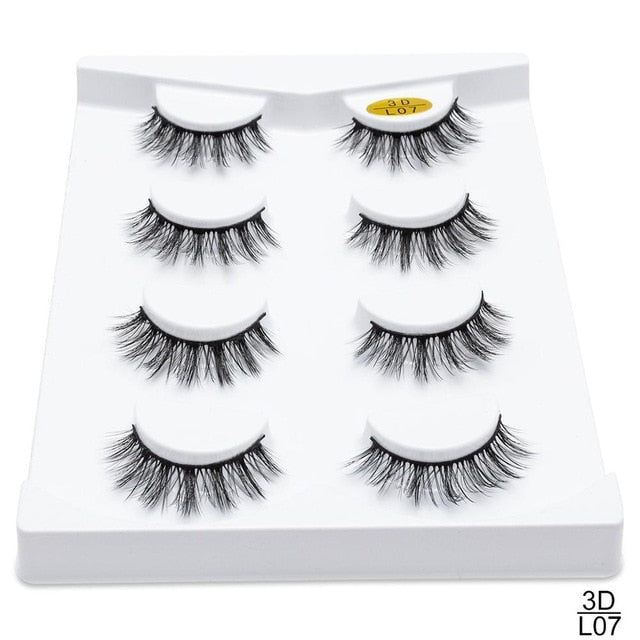 2/4 pairs natural false eyelashes fake lashes long makeup extension mink eyelashes for beauty