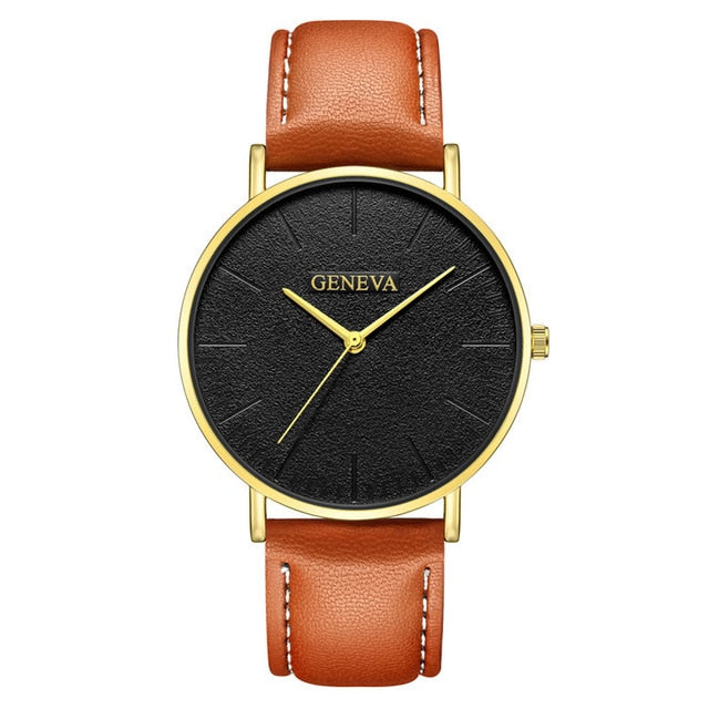 Fashion Men's Leather Casual Analog Quartz Wrist Watch Business Watches B40