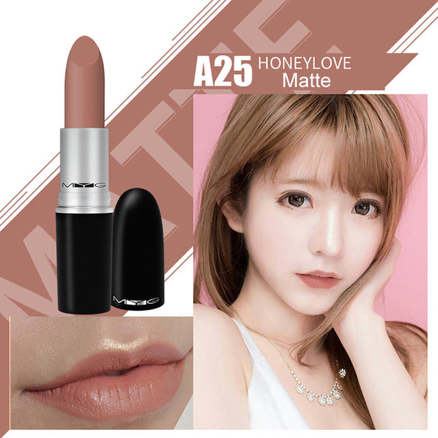 Matte Lipstick professional Lips Makeup Long-lasting Waterproof  Lipstick Red Nude Chili Diva
