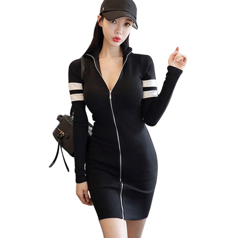 B Sexy Dress Women Club Low Cut Bodycon Dress Sexy  Sheath Zipper Fashion Party Dresses