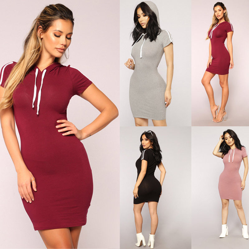 2019 Summer Fashion Casual Women Dress 4 Style Skinny High Waist Mini Dress Size S/M/L/XL