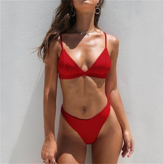 Sexy Brazilian Bikini Set Women Solid High Cut Bathing Suit Swimwear Summer Beach