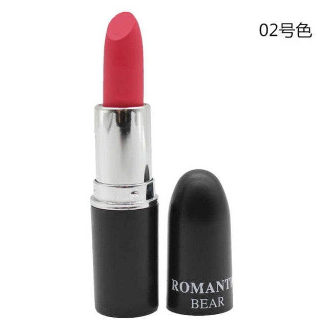 New Sexy Color Beauty Red Lips Baton Matte Velvet Lip Stick Waterproof Makeup Pigment Brown