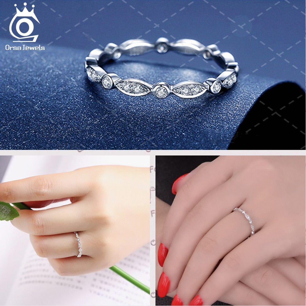 Women Rings Cubic Zircon Fashion Wedding Ring Jewelry Round Finger Ring
