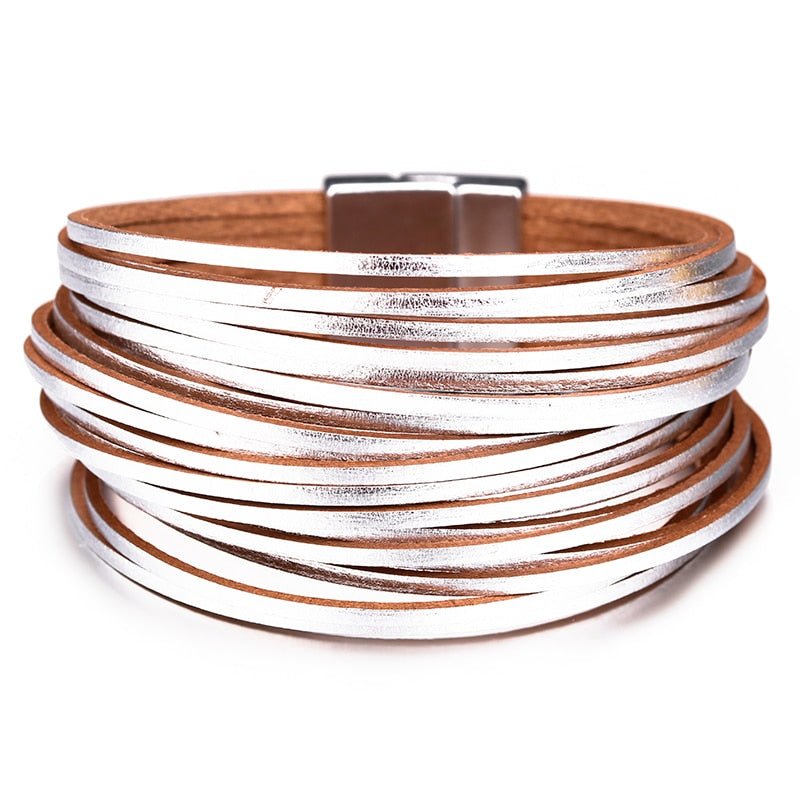 Gold Silver Bracelets Bangles For Women  Multilayer Wide Female Jewelry