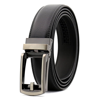 Automatic Leather Belt Men Genuine Leather Men Belts with Alloy Buckle Designer Belts Black Coffee