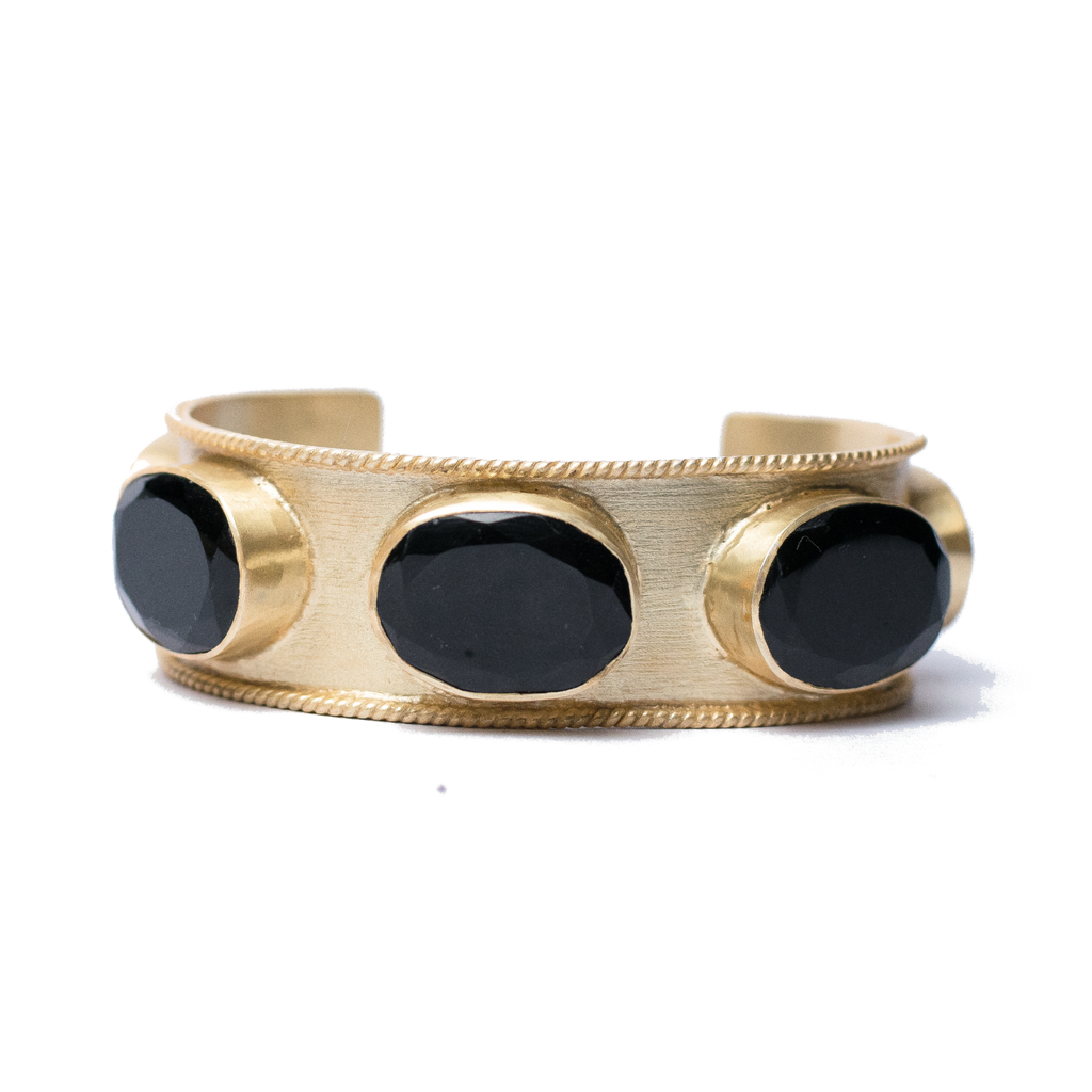 Gold Cuff with Black Onyx Bracelet