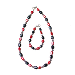 Onyx & Faux Coral Necklace and Bracelet