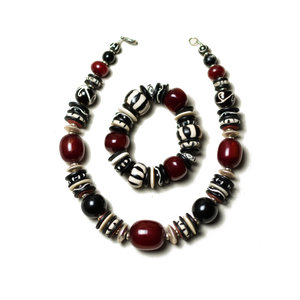 Camel Bone with Red Amber Necklace and Bracelet