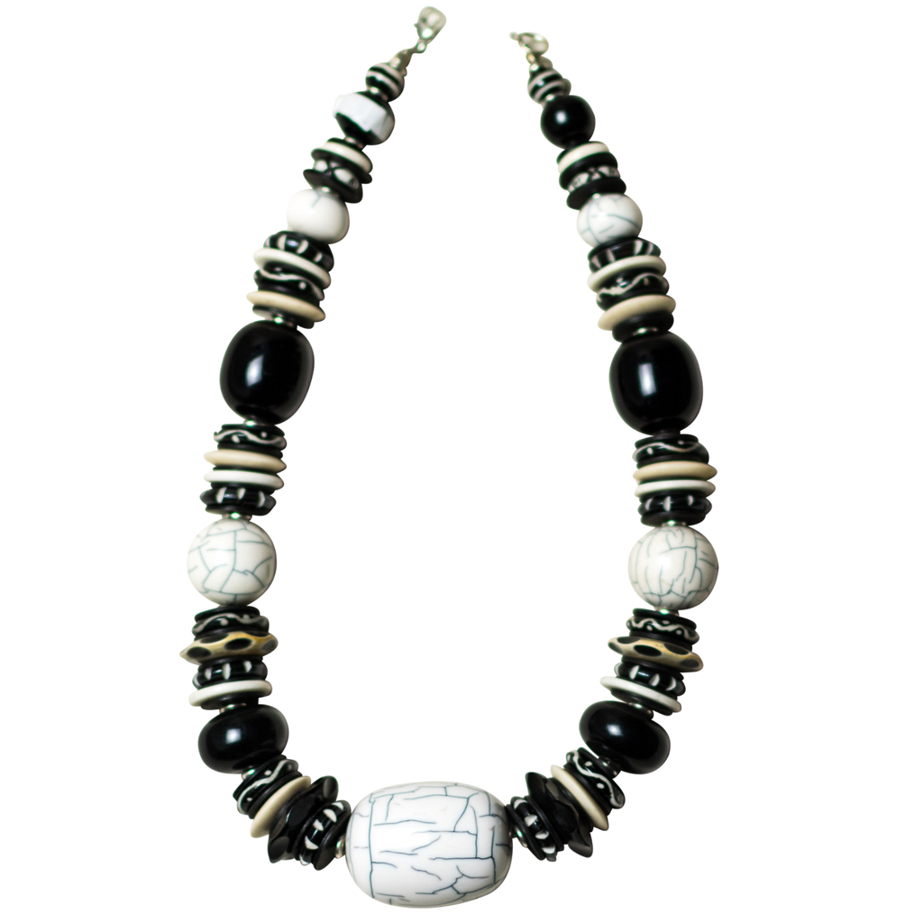 Black and White Camel Bone Necklace