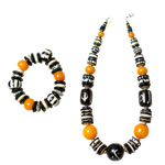 Camel Bone & light Amber Necklace with Bracelet