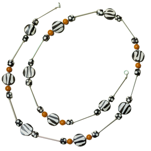 Batik Bone & Amber Long Necklace