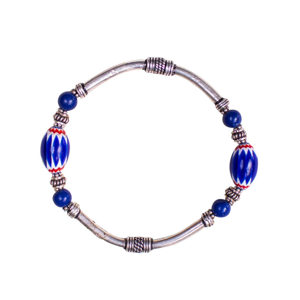 Chevron and Sterling Silver Bracelet