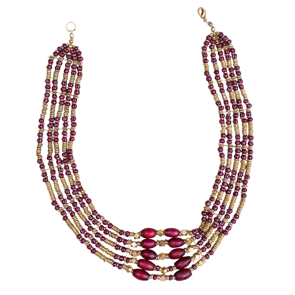 Samburu Bead and Brass Necklace