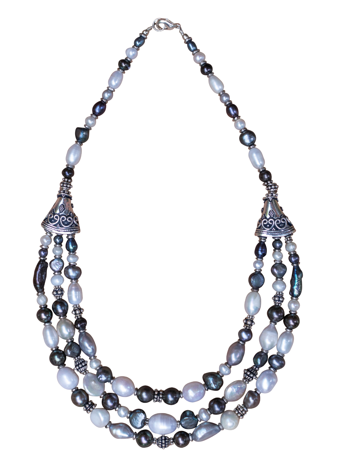 Grey, White and Purple Pearl Necklace