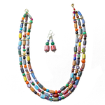 Mixed Bead 3 line Necklace & Earrings