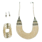 Pearl Necklace, Bracelet and Earrings