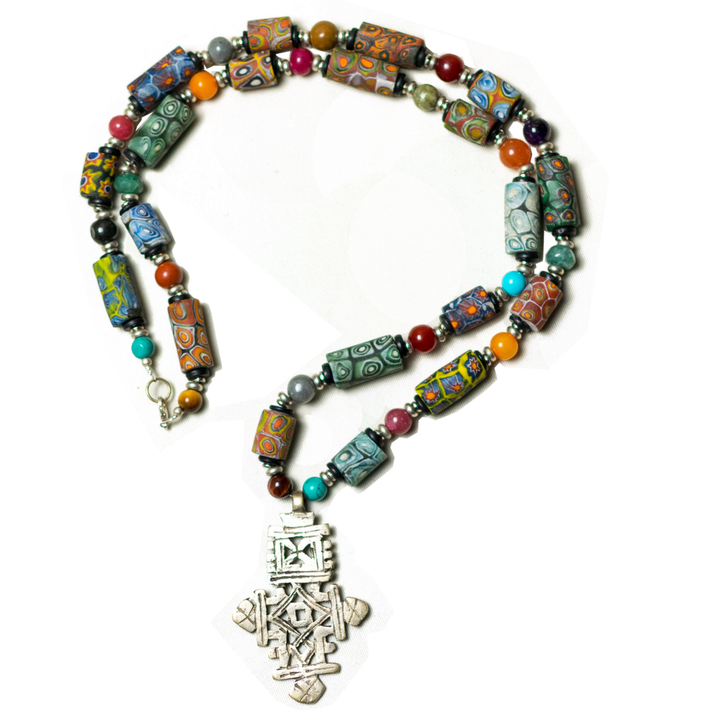 Trade Bead, Ethiopian Cross Necklace