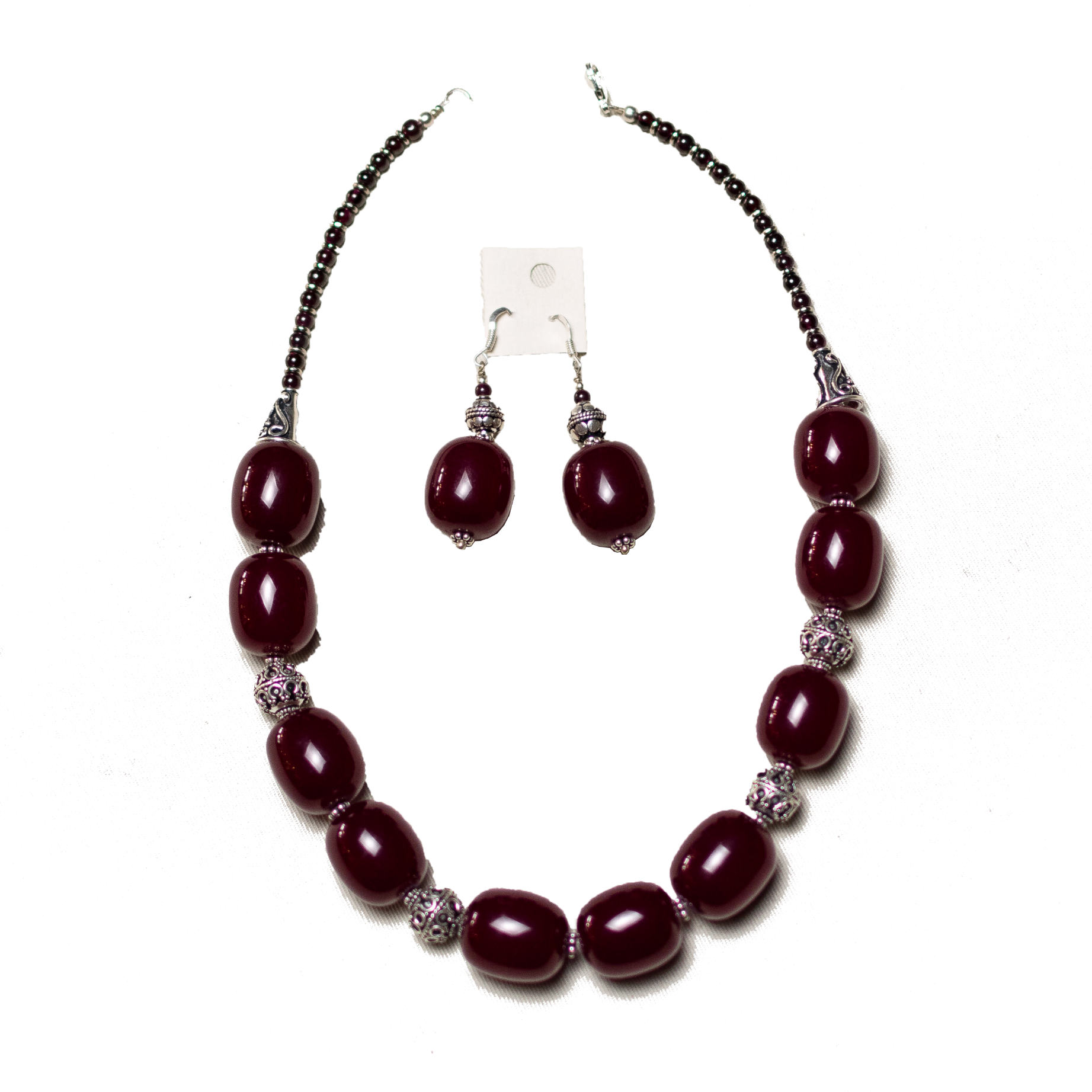 Red Amber Necklace Set