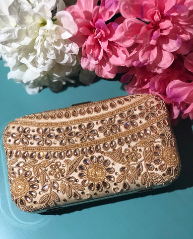 Ivory Kundan and Antique Clutch