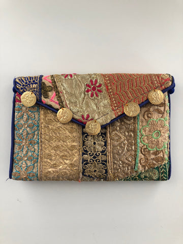 Jaipuri Clutch - Gold Coins (Blue)