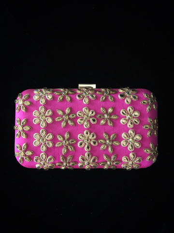 Hot Pink Kundan Clutch