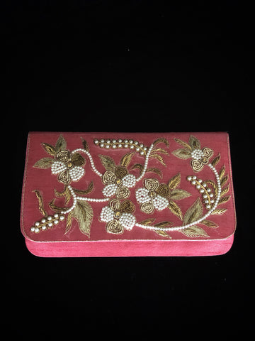 Pink Clutch - Antique Work & Pearls