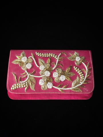 Hot Pink Clutch - Antique Work & Pearls