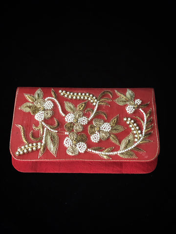 Red Clutch - Antique Work & Pearls