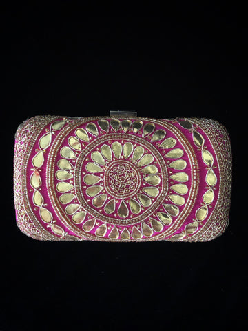 Hot Pink Gota Pathi Clutch