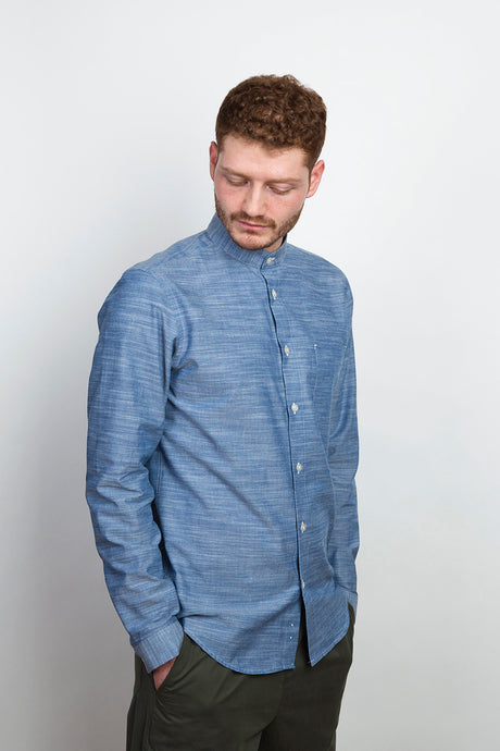 Band Collar Shirt structured denim