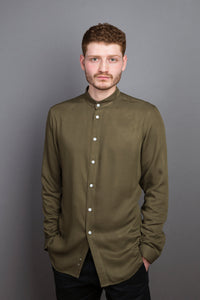 Band Collar Shirt moss