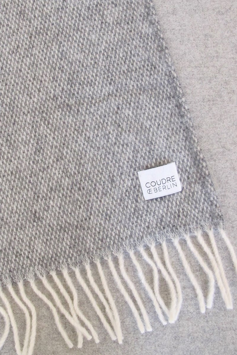Woolen Throw Pick Stitch Grey