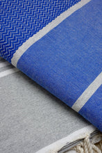 Laden Sie das Bild in den Galerie-Viewer, Hamam Blanket Wave Herringbone blue