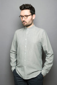 Band Collar Shirt pebble