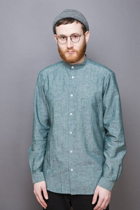 Mao Collar Shirt greenstone