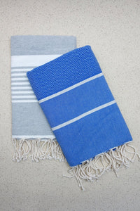 Hamam Blanket Wave Herringbone blue