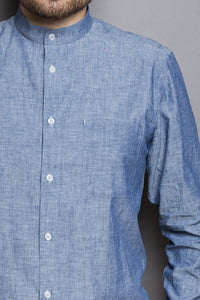 Band Collar Shirt baltic sea