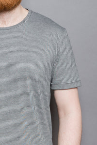 Striped Rolled Sleeve T-Shirt grey