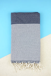 Hamam Blanket Honeycomb Stripe dark navy