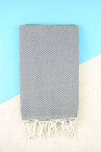 Laden Sie das Bild in den Galerie-Viewer, Hamam Blanket Honeycomb dark grey